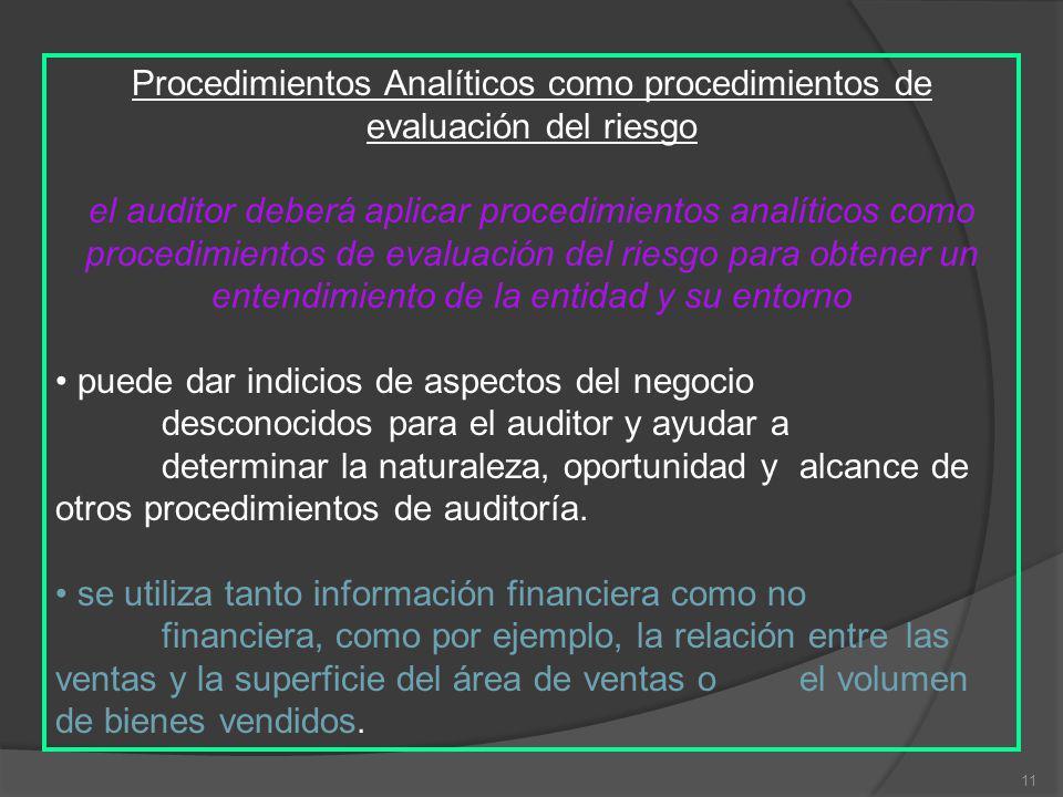 Procedimientos Analíticos como procedimientos de evaluación del riesgo