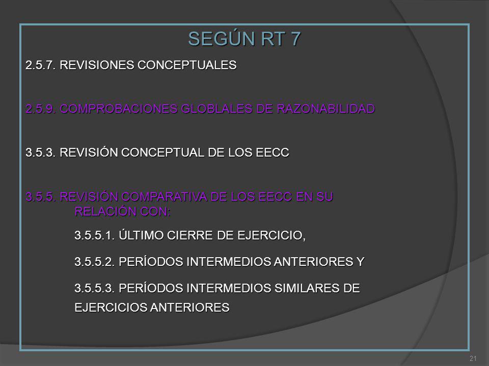 SEGÚN RT 7 2.5.7. REVISIONES CONCEPTUALES