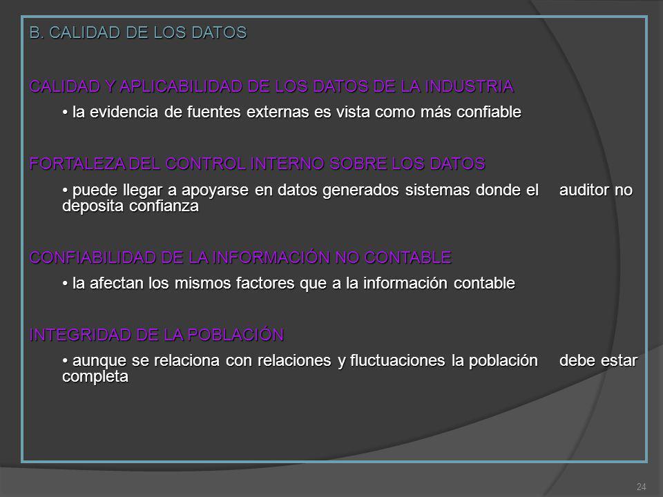 B. CALIDAD DE LOS DATOS CALIDAD Y APLICABILIDAD DE LOS DATOS DE LA INDUSTRIA. la evidencia de fuentes externas es vista como más confiable.