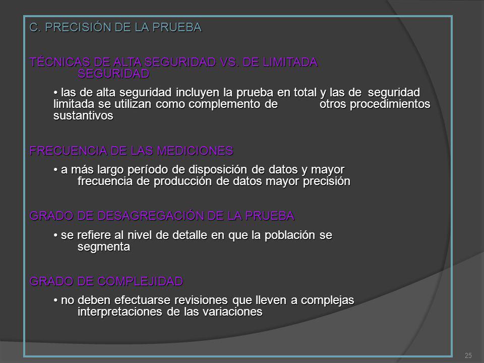 C. PRECISIÓN DE LA PRUEBA
