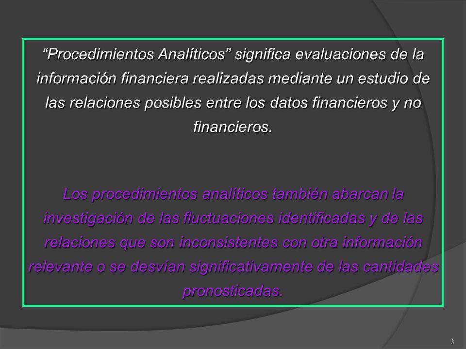 Procedimientos Analíticos significa evaluaciones de la información financiera realizadas mediante un estudio de las relaciones posibles entre los datos financieros y no financieros.