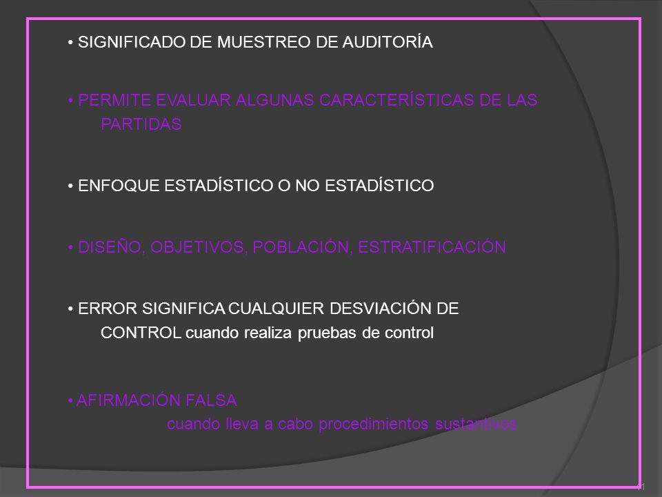 SIGNIFICADO DE MUESTREO DE AUDITORÍA