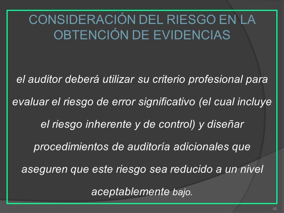 CONSIDERACIÓN DEL RIESGO EN LA OBTENCIÓN DE EVIDENCIAS