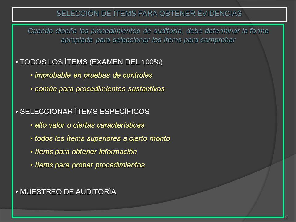 SELECCIÓN DE ÍTEMS PARA OBTENER EVIDENCIAS