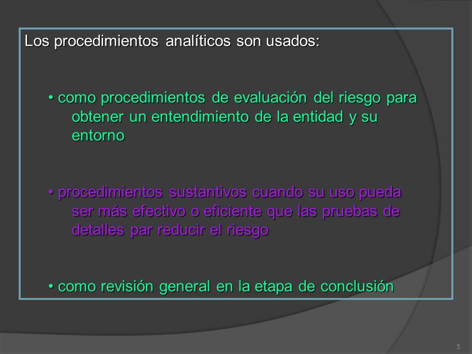 Los procedimientos analíticos son usados: