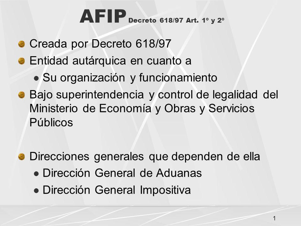 AFIP Decreto 618/97 Art. 1º y 2º Creada por Decreto 618/97