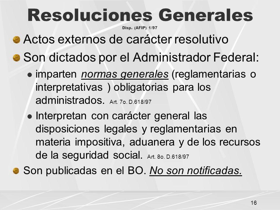 Resoluciones Generales Disp. (AFIP) 1/97