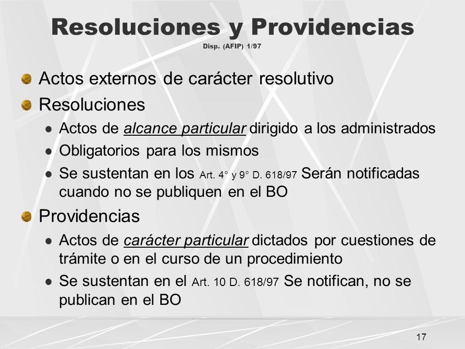 Resoluciones y Providencias Disp. (AFIP) 1/97