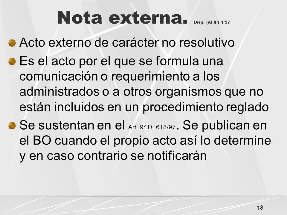 Nota externa. Disp. (AFIP) 1/97