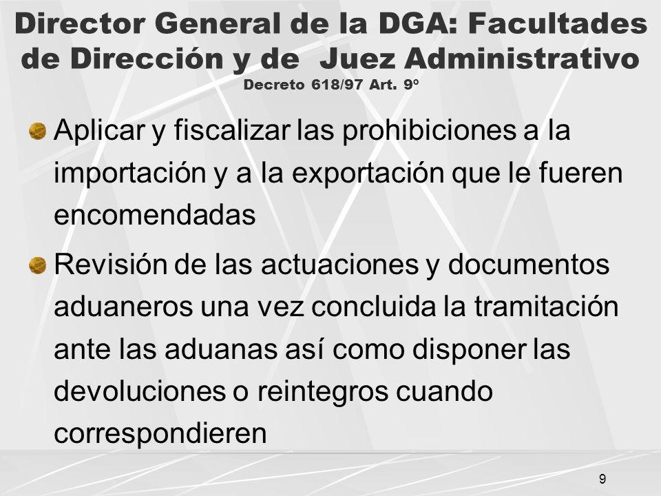 Director General de la DGA: Facultades de Dirección y de Juez Administrativo Decreto 618/97 Art. 9º