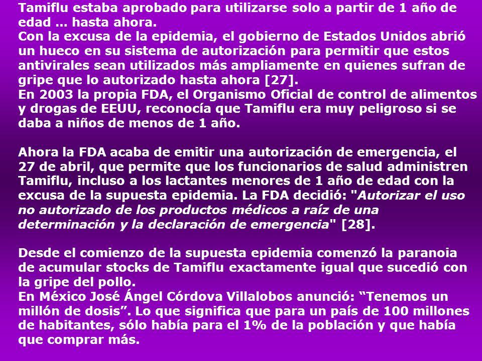 Tamiflu estaba aprobado para utilizarse solo a partir de 1 año de edad … hasta ahora.
