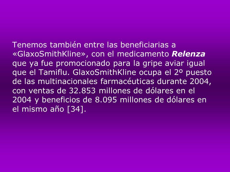 Tenemos también entre las beneficiarias a «GlaxoSmithKline», con el medicamento Relenza que ya fue promocionado para la gripe aviar igual que el Tamiflu.