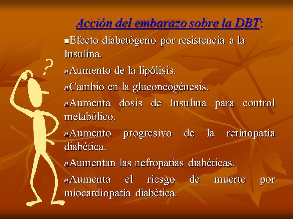 Acción del embarazo sobre la DBT: