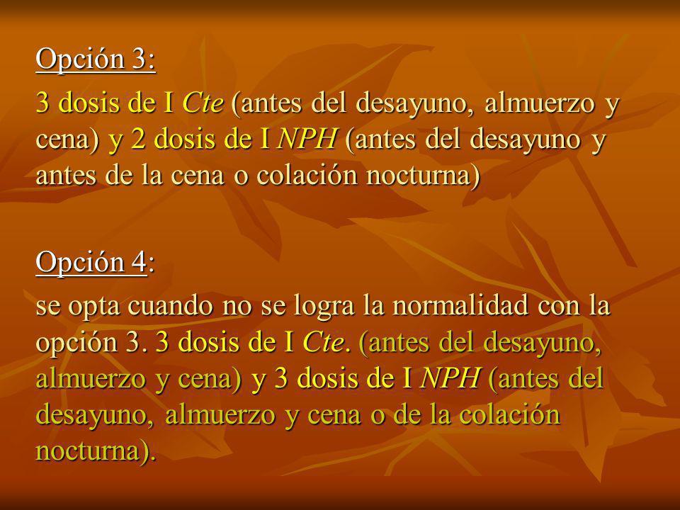 Opción 3: 3 dosis de I Cte (antes del desayuno, almuerzo y cena) y 2 dosis de I NPH (antes del desayuno y antes de la cena o colación nocturna)