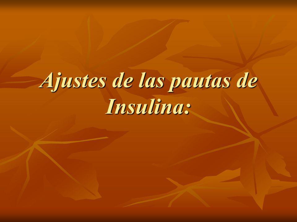 Ajustes de las pautas de Insulina: