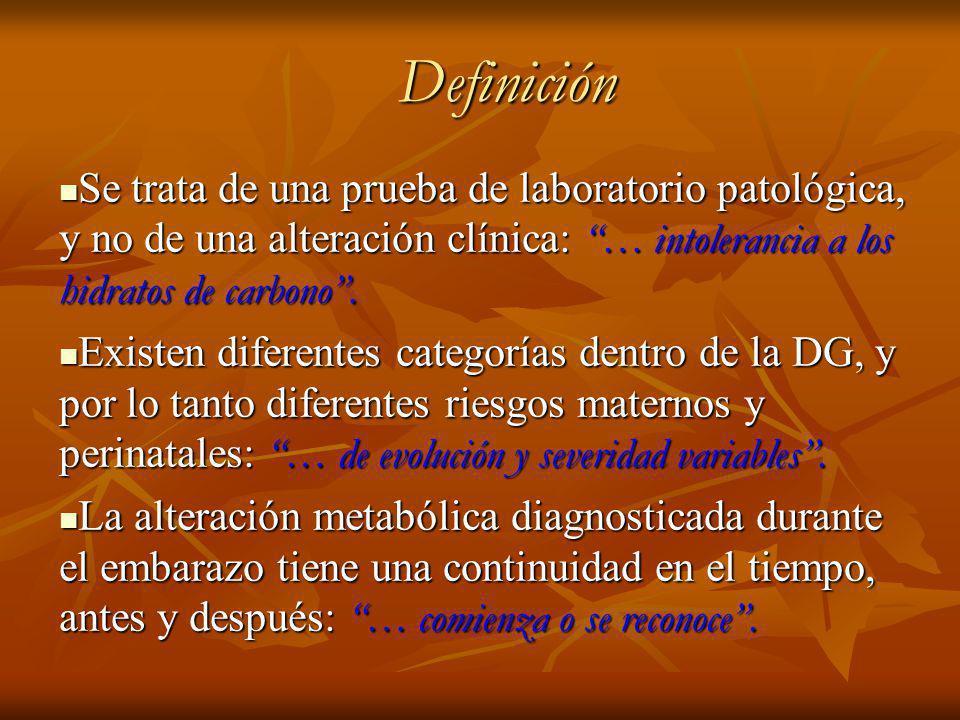 Definición Se trata de una prueba de laboratorio patológica, y no de una alteración clínica: … intolerancia a los hidratos de carbono .