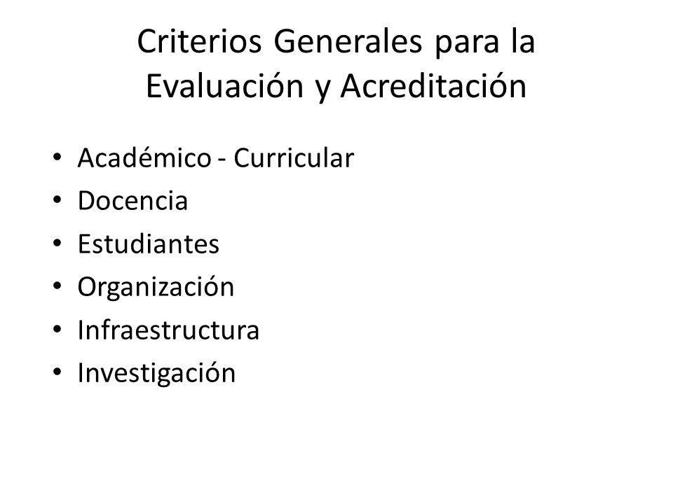 Criterios Generales para la Evaluación y Acreditación