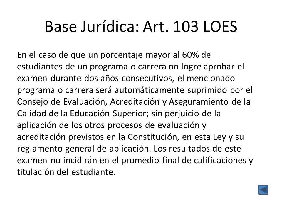 Base Jurídica: Art. 103 LOES