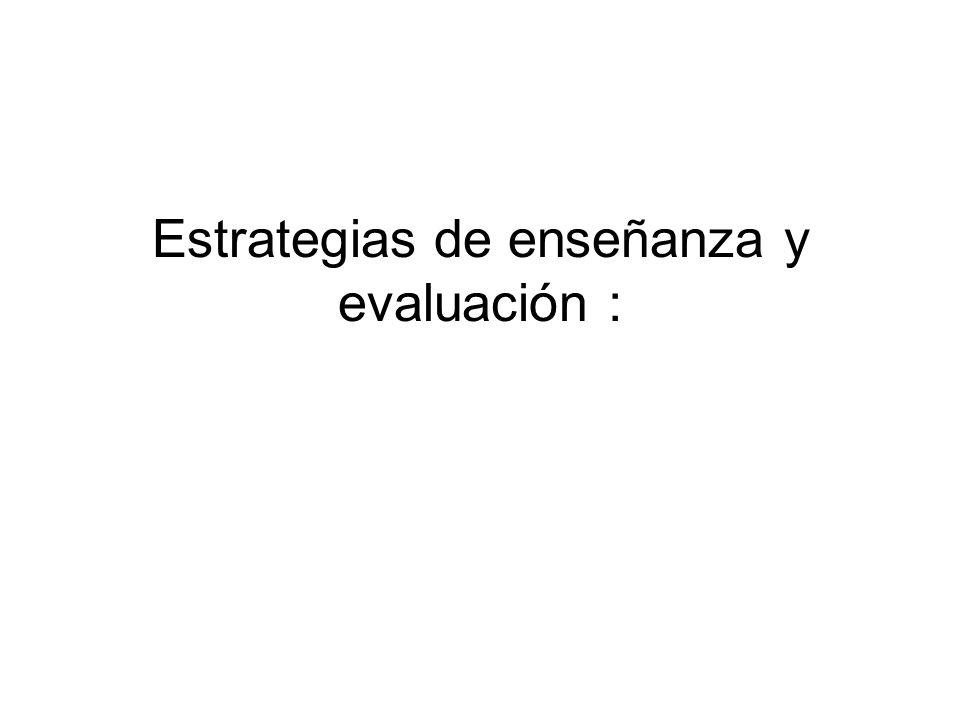 Estrategias de enseñanza y evaluación :