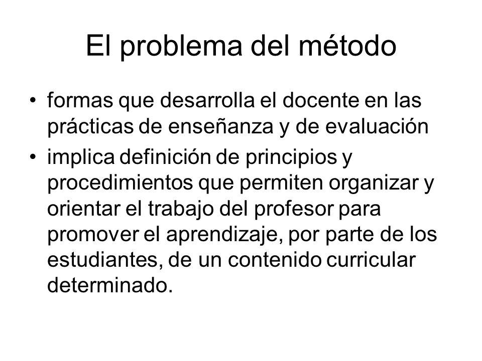 El problema del método formas que desarrolla el docente en las prácticas de enseñanza y de evaluación.