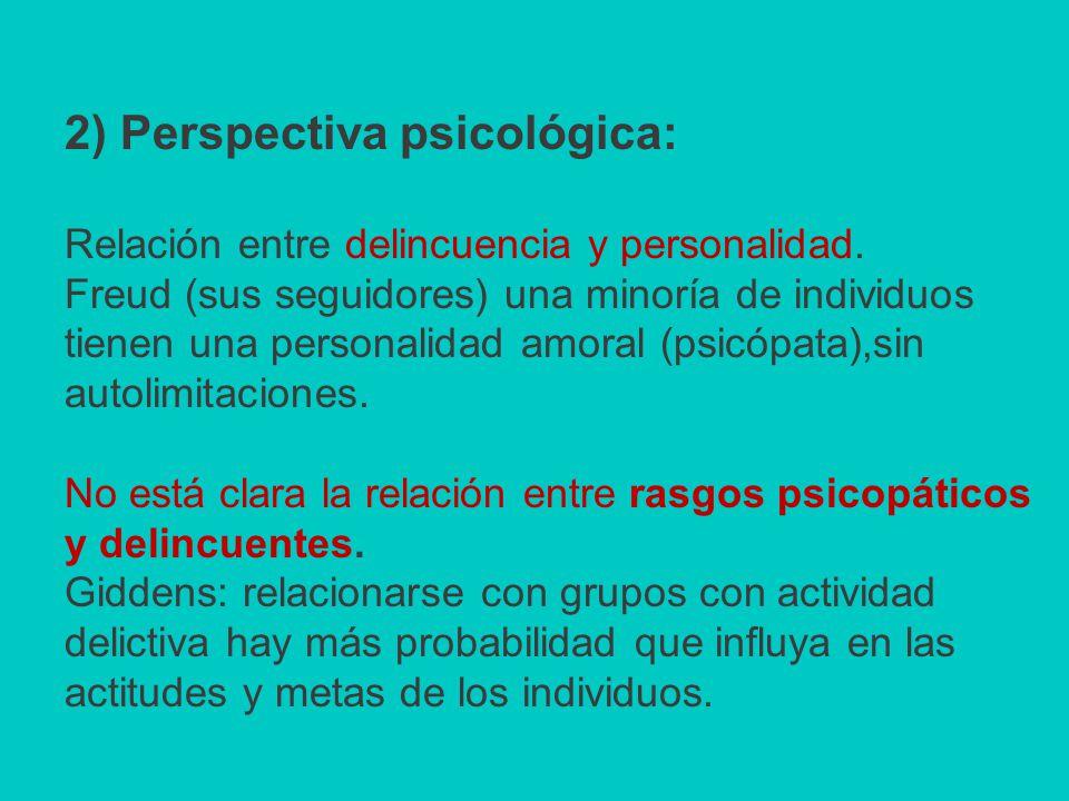 2) Perspectiva psicológica: Relación entre delincuencia y personalidad