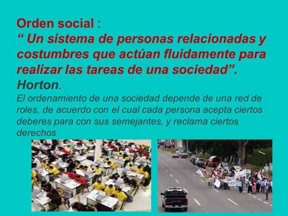 Orden social : Un sistema de personas relacionadas y costumbres que actúan fluidamente para realizar las tareas de una sociedad .