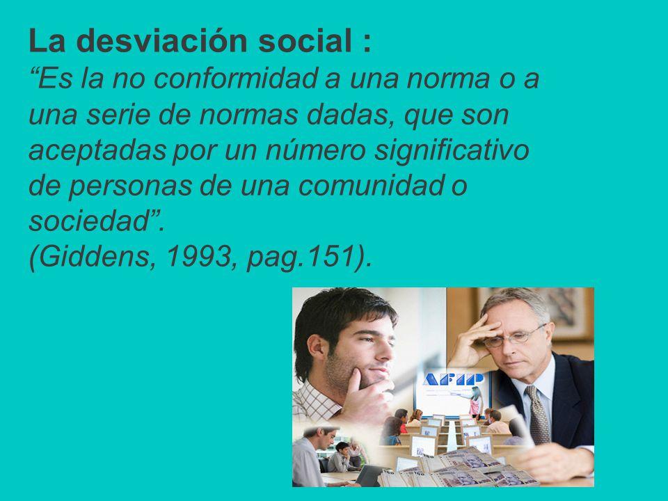 La desviación social : Es la no conformidad a una norma o a una serie de normas dadas, que son aceptadas por un número significativo de personas de una comunidad o sociedad .