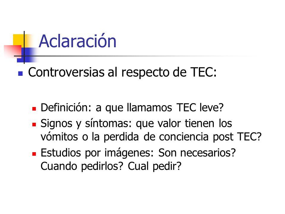 Aclaración Controversias al respecto de TEC: