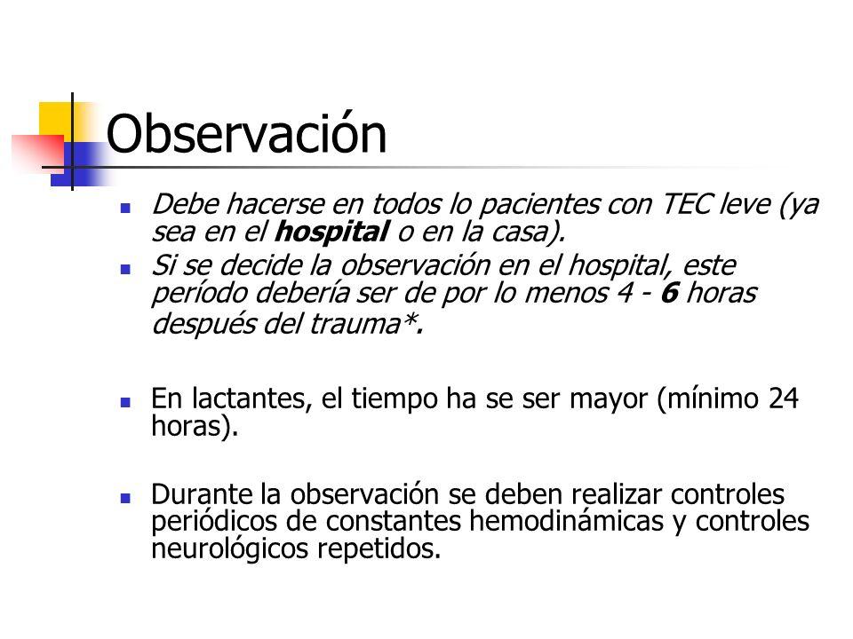Observación Debe hacerse en todos lo pacientes con TEC leve (ya sea en el hospital o en la casa).