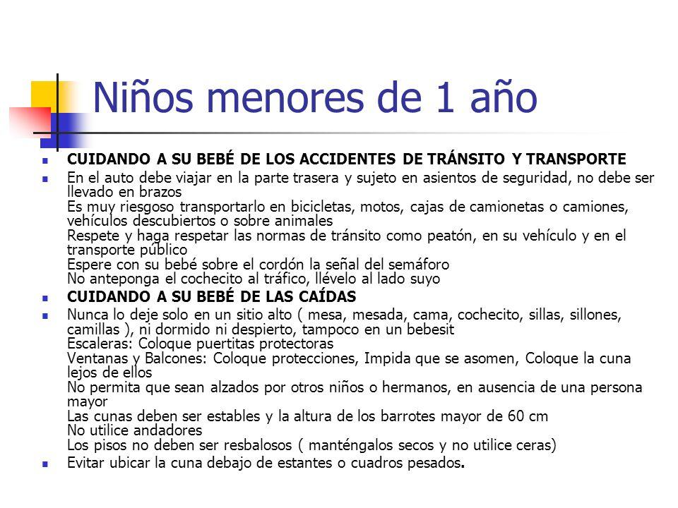 Niños menores de 1 año CUIDANDO A SU BEBÉ DE LOS ACCIDENTES DE TRÁNSITO Y TRANSPORTE.
