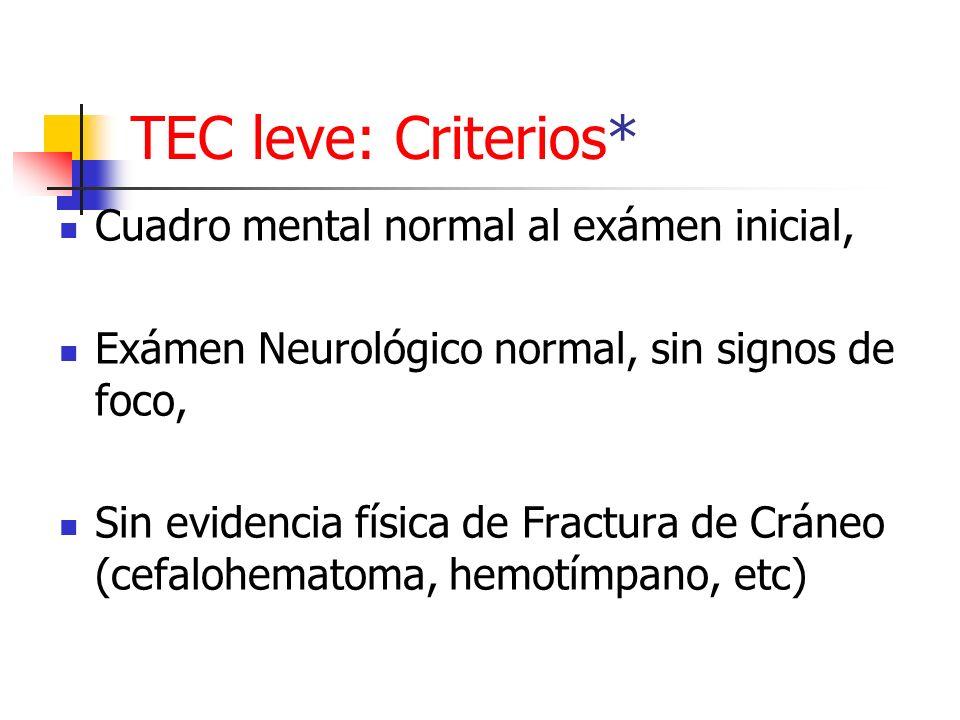 TEC leve: Criterios* Cuadro mental normal al exámen inicial,