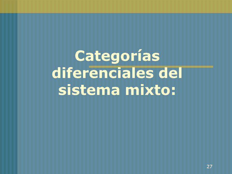 Categorías diferenciales del sistema mixto: