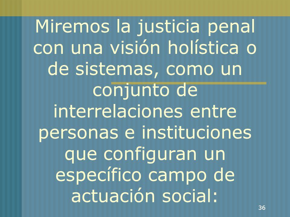Miremos la justicia penal con una visión holística o de sistemas, como un conjunto de interrelaciones entre personas e instituciones que configuran un específico campo de actuación social: