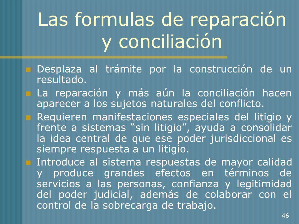 Las formulas de reparación y conciliación