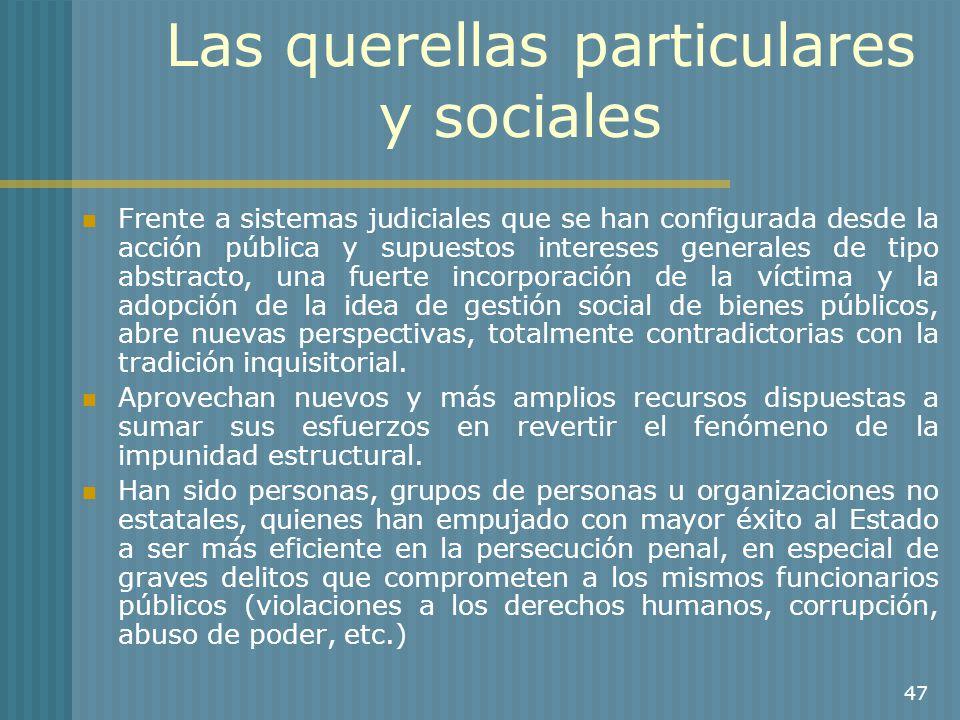 Las querellas particulares y sociales