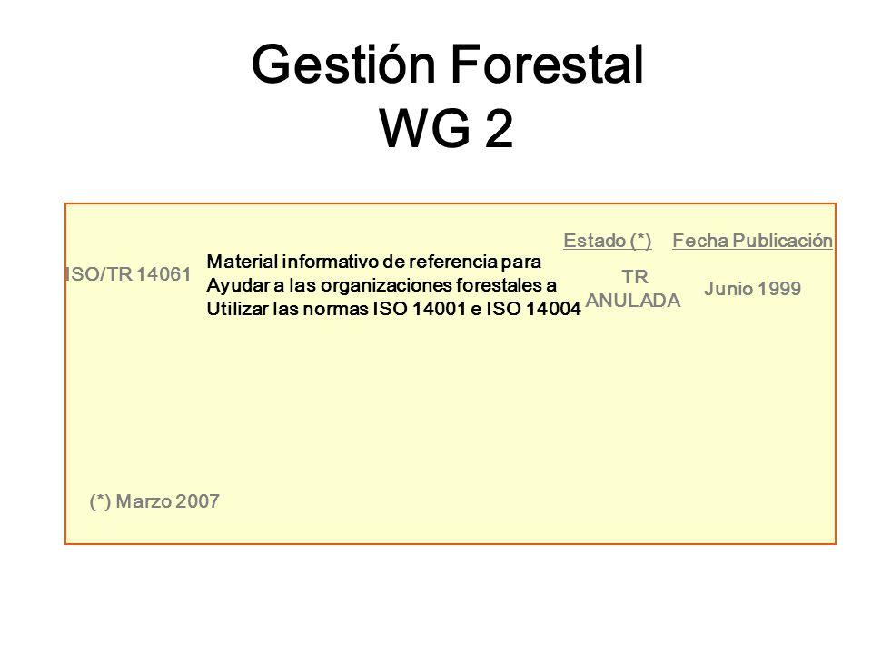 Gestión Forestal WG 2 Estado (*) Fecha Publicación ISO/TR 14061