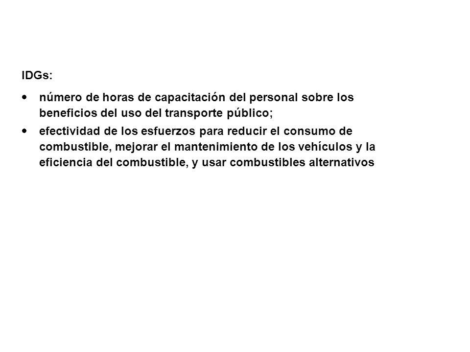 IDGs: número de horas de capacitación del personal sobre los beneficios del uso del transporte público;
