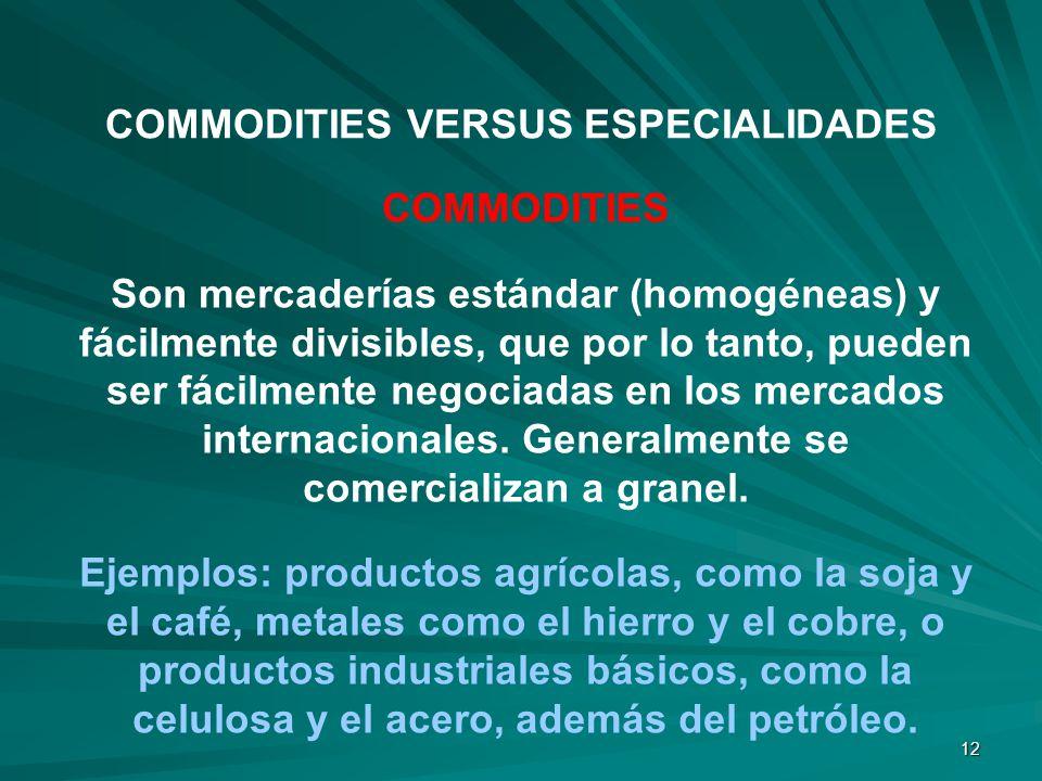COMMODITIES VERSUS ESPECIALIDADES