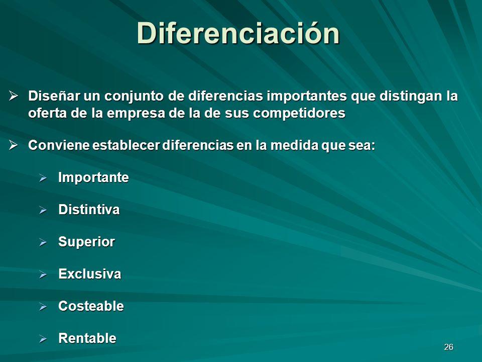 Diferenciación Diseñar un conjunto de diferencias importantes que distingan la oferta de la empresa de la de sus competidores.