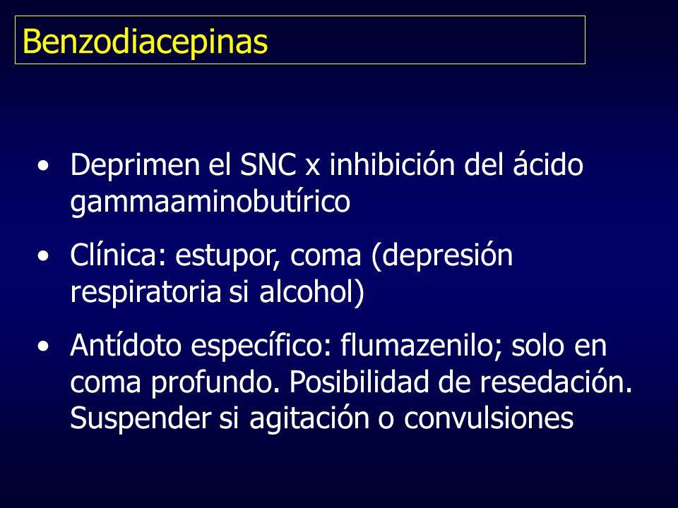 Benzodiacepinas Deprimen el SNC x inhibición del ácido gammaaminobutírico. Clínica: estupor, coma (depresión respiratoria si alcohol)