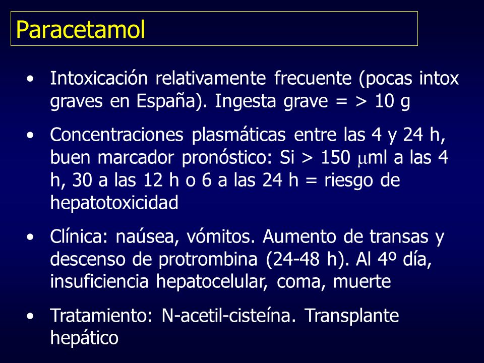 Paracetamol Intoxicación relativamente frecuente (pocas intox graves en España). Ingesta grave = > 10 g.