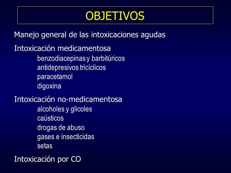 OBJETIVOS Manejo general de las intoxicaciones agudas