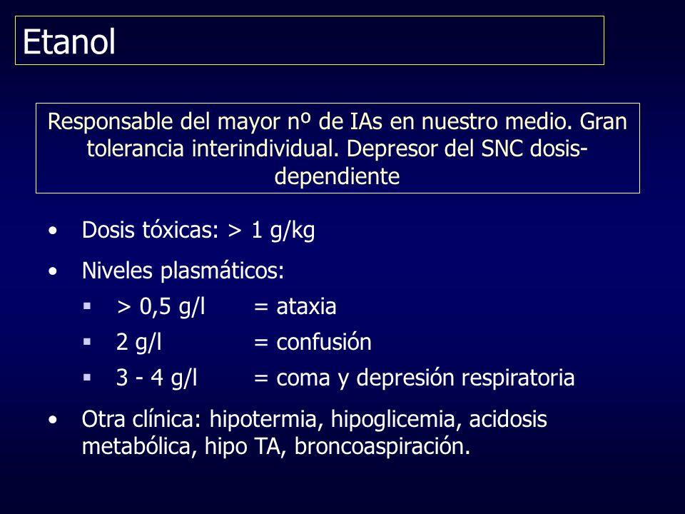 Etanol Responsable del mayor nº de IAs en nuestro medio. Gran tolerancia interindividual. Depresor del SNC dosis-dependiente.
