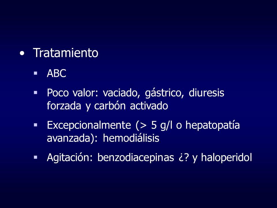 TratamientoABC. Poco valor: vaciado, gástrico, diuresis forzada y carbón activado. Excepcionalmente (> 5 g/l o hepatopatía avanzada): hemodiálisis.