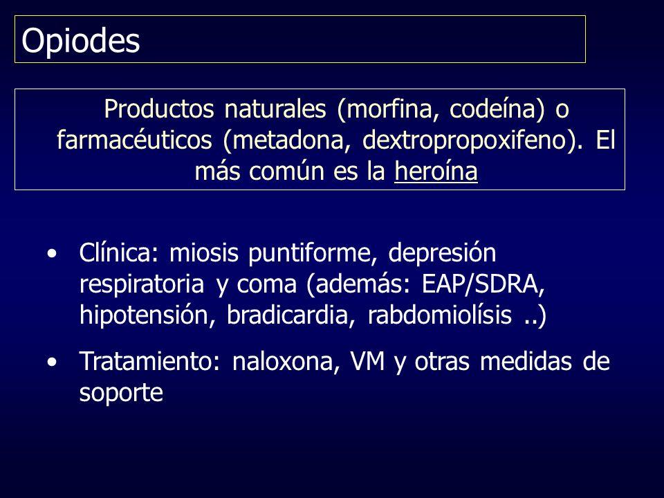 OpiodesProductos naturales (morfina, codeína) o farmacéuticos (metadona, dextropropoxifeno). El más común es la heroína.