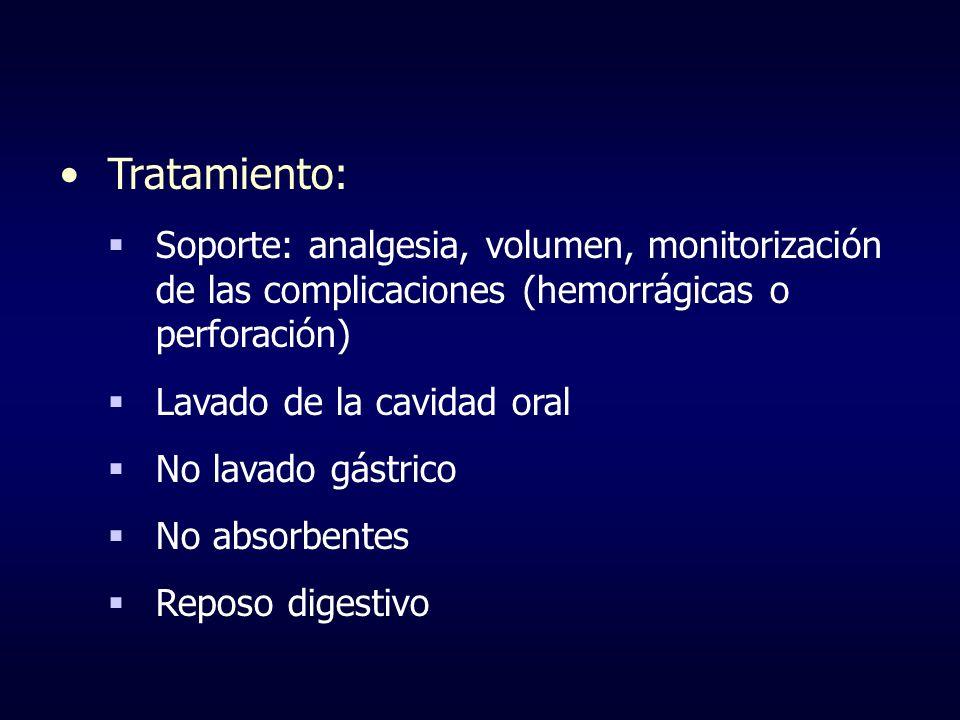 Tratamiento:Soporte: analgesia, volumen, monitorización de las complicaciones (hemorrágicas o perforación)
