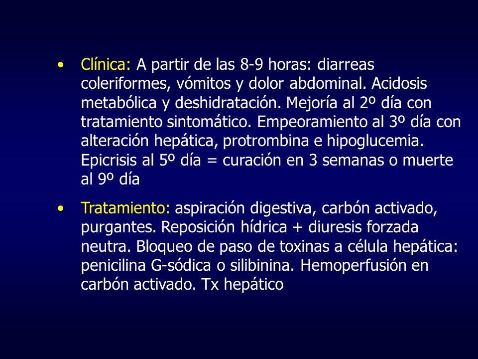 Clínica: A partir de las 8-9 horas: diarreas coleriformes, vómitos y dolor abdominal. Acidosis metabólica y deshidratación. Mejoría al 2º día con tratamiento sintomático. Empeoramiento al 3º día con alteración hepática, protrombina e hipoglucemia. Epicrisis al 5º día = curación en 3 semanas o muerte al 9º día