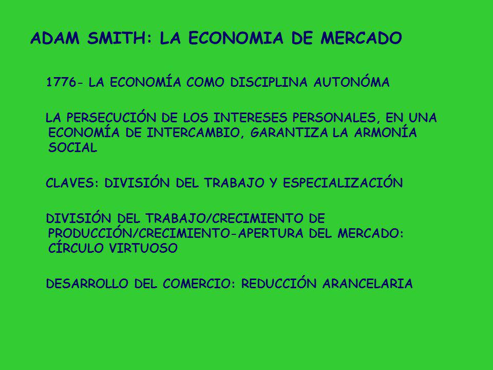 ADAM SMITH: LA ECONOMIA DE MERCADO