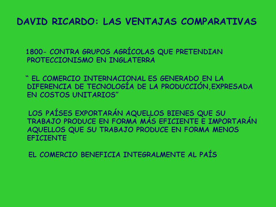 DAVID RICARDO: LAS VENTAJAS COMPARATIVAS