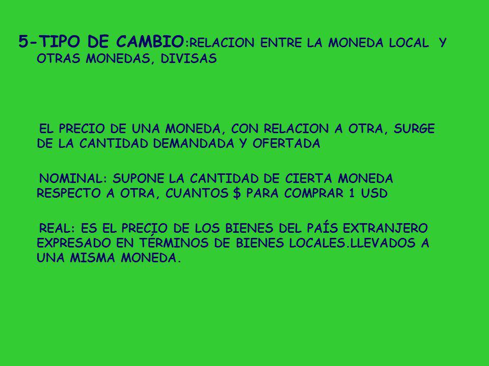 5-TIPO DE CAMBIO:RELACION ENTRE LA MONEDA LOCAL Y OTRAS MONEDAS, DIVISAS